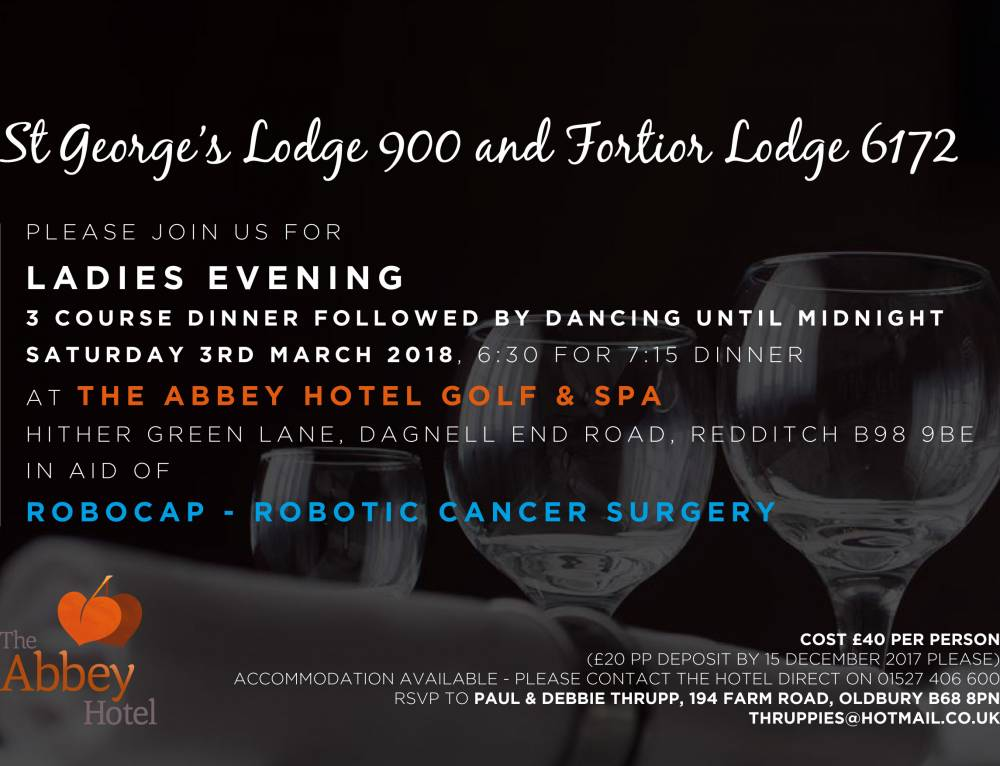 St George's Lodge 900 and Fortior Lodge 6172 Ladies Evening on Saturday 3rd March 2018